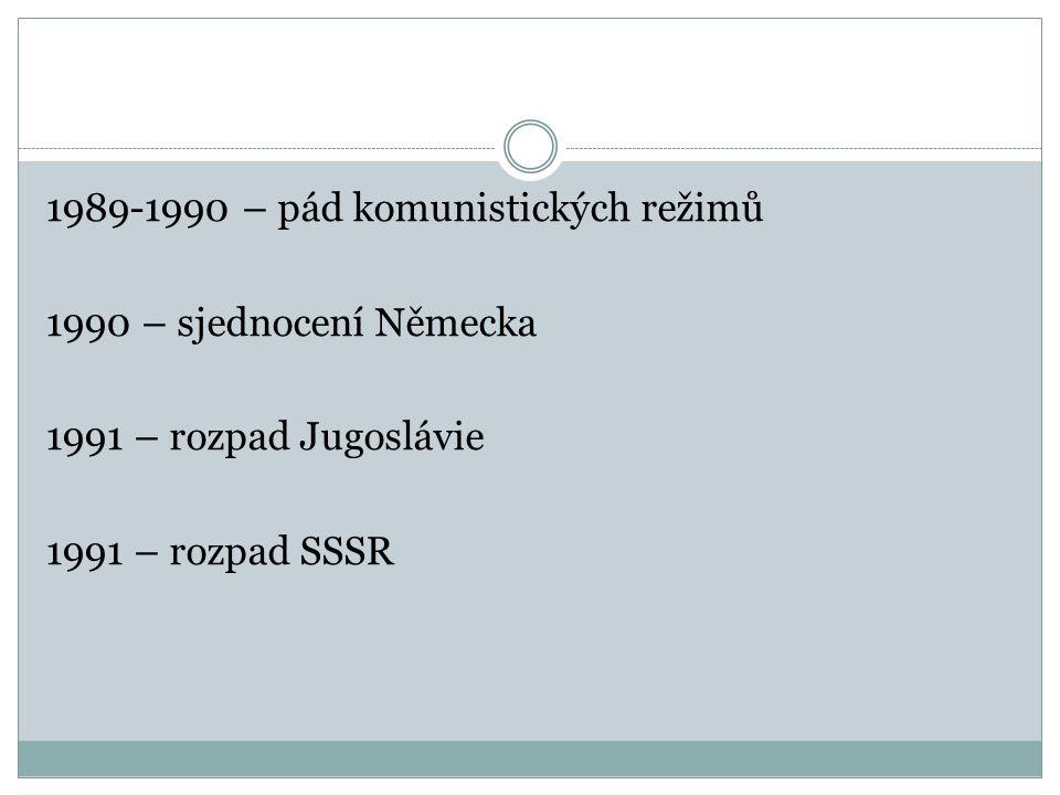 1989-1990 – pád komunistických režimů 1990 – sjednocení Německa 1991 – rozpad Jugoslávie 1991 – rozpad SSSR