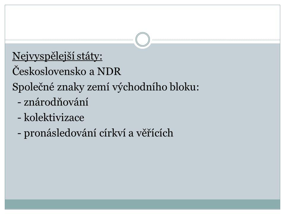 Nejvyspělejší státy: Československo a NDR Společné znaky zemí východního bloku: - znárodňování - kolektivizace - pronásledování církví a věřících