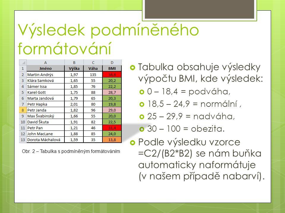  Tabulka obsahuje výsledky výpočtu BMI, kde výsledek:  0 – 18,4 = podváha,  18,5 – 24,9 = normální,  25 – 29,9 = nadváha,  30 – 100 = obezita. 