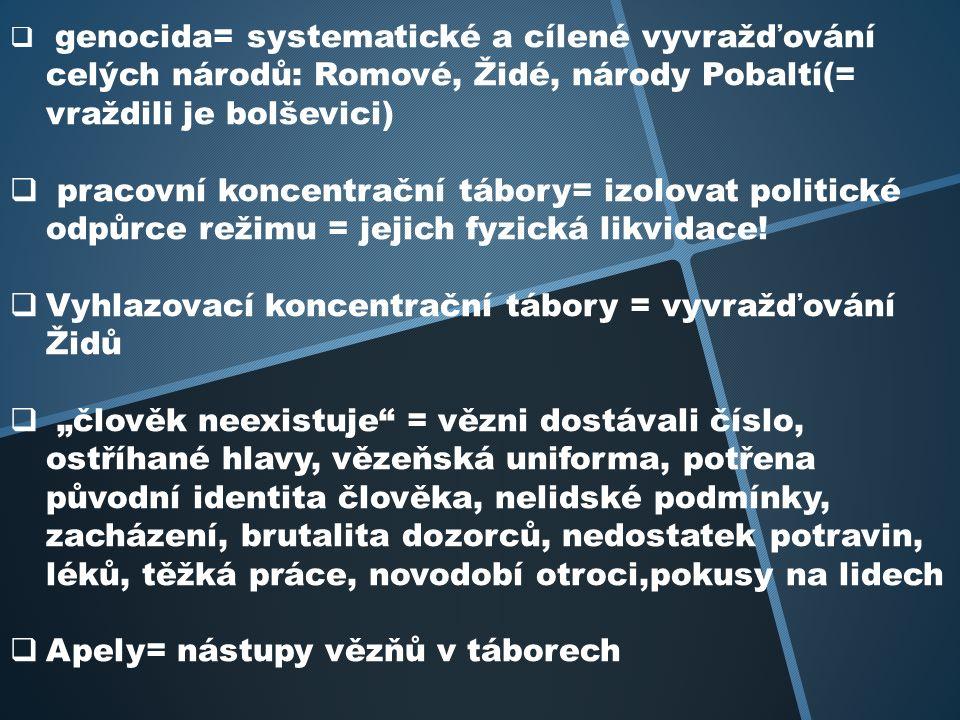  genocida= systematické a cílené vyvražďování celých národů: Romové, Židé, národy Pobaltí(= vraždili je bolševici)  pracovní koncentrační tábory= izolovat politické odpůrce režimu = jejich fyzická likvidace.