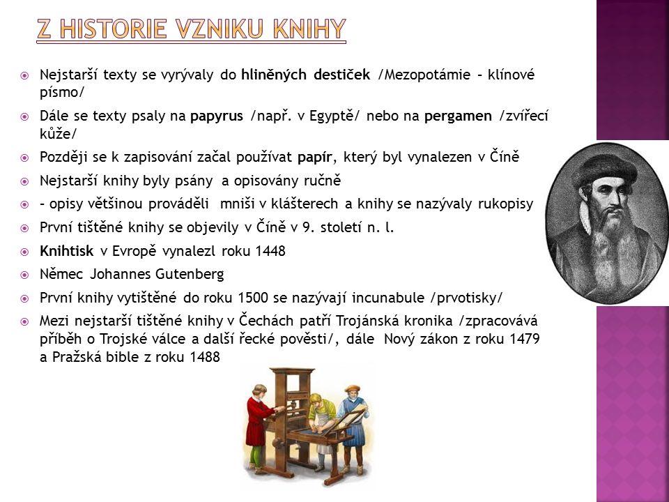  Nejstarší texty se vyrývaly do hliněných destiček /Mezopotámie – klínové písmo/  Dále se texty psaly na papyrus /např.