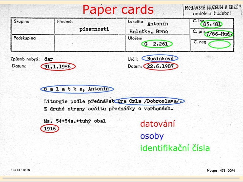 17 Paper cards datování osoby identifikační čísla
