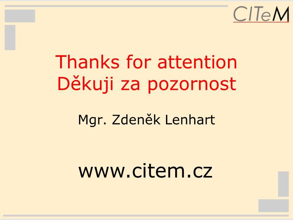 Thanks for attention Děkuji za pozornost Mgr. Zdeněk Lenhart www.citem.cz