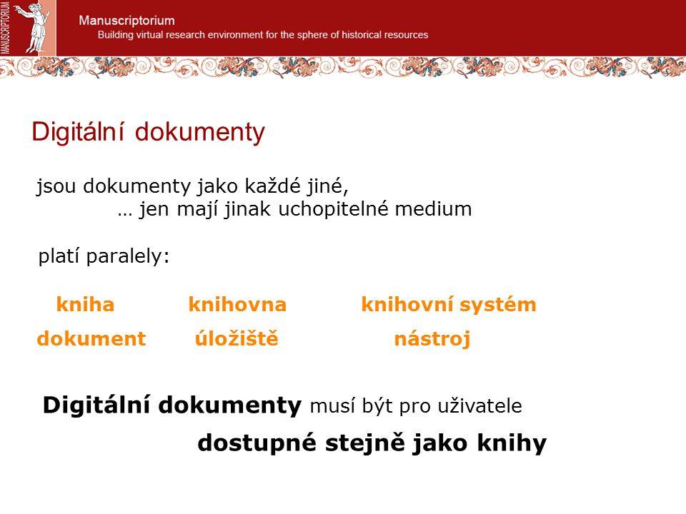 jsou dokumenty jako každé jiné, … jen mají jinak uchopitelné medium Digitální dokumenty Digitální dokumenty musí být pro uživatele dostupné stejně jako knihy kniha dokument platí paralely: knihovna úložiště knihovní systém nástroj
