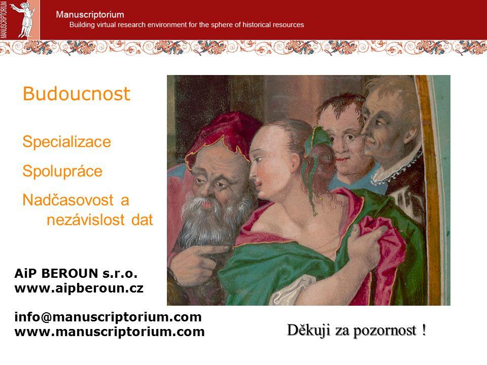 Manuscriptorium: http://www.manuscriptorium.com.cz.eu http://www.manuscriptorium.com Manuscriptorium Kandidátů: http://candidates.manuscriptorium.com http://candidates.manuscriptorium.com Manuscriptorium pro školy: http://skoly.manuscriptorium.com http://skoly.manuscriptorium.com MANUSCRIPTORIUM – aktuální odkazy