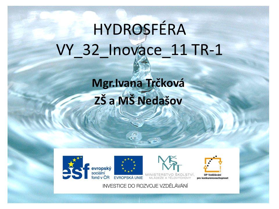 HYDROSFÉRA VY_32_Inovace_11 TR-1 Mgr.Ivana Trčková ZŠ a MŠ Nedašov