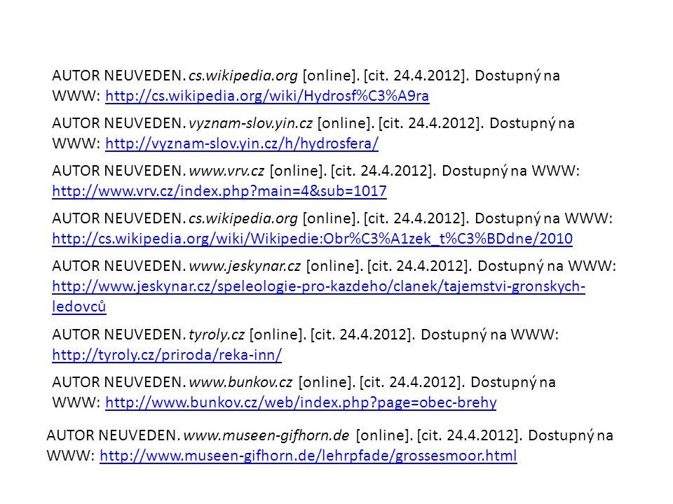 AUTOR NEUVEDEN. cs.wikipedia.org [online]. [cit. 24.4.2012]. Dostupný na WWW: http://cs.wikipedia.org/wiki/Hydrosf%C3%A9rahttp://cs.wikipedia.org/wiki