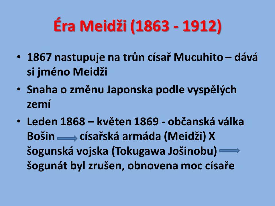 Hlavní město Japonska přesunuta z Kjóta do města Edo – přejmenováno na Tokio Po informacích z jiných zemí sílí tlak na liberalizaci země 1889 – přijata první ústava