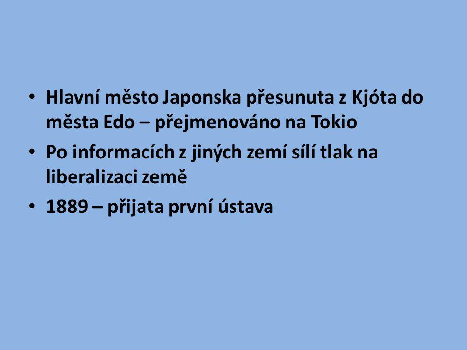 Hospodářství Japonsko nemá žádné nerostné zdroje – musí expandovat Válka s Čínou (1894-1895) o nadvládu nad Korejským poloostrovem drtivá porážka Číny – ztrácí Koreu a Tchaj-wan
