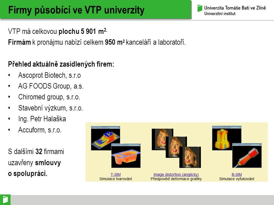 Firmy působící ve VTP univerzity VTP má celkovou plochu 5 901 m 2. Firmám k pronájmu nabízí celkem 950 m 2 kanceláří a laboratoří. Přehled aktuálně za