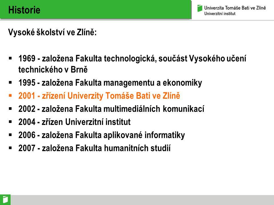 Historie Vysoké školství ve Zlíně:  1969 - založena Fakulta technologická, součást Vysokého učení technického v Brně  1995 - založena Fakulta manage