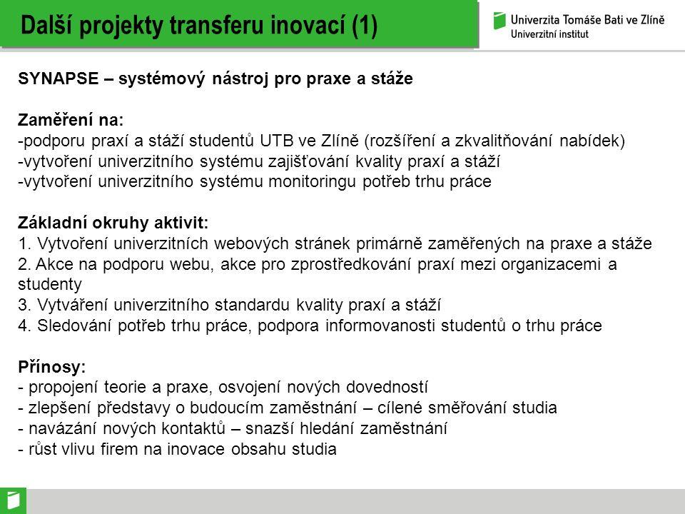 Další projekty transferu inovací (1) SYNAPSE – systémový nástroj pro praxe a stáže Zaměření na: -podporu praxí a stáží studentů UTB ve Zlíně (rozšíření a zkvalitňování nabídek) -vytvoření univerzitního systému zajišťování kvality praxí a stáží -vytvoření univerzitního systému monitoringu potřeb trhu práce Základní okruhy aktivit: 1.