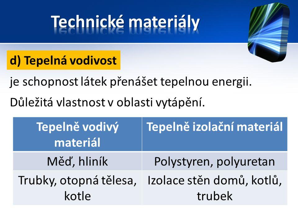 Tepelně vodivý materiál Tepelně izolační materiál Měď, hliníkPolystyren, polyuretan Trubky, otopná tělesa, kotle Izolace stěn domů, kotlů, trubek d) Tepelná vodivost je schopnost látek přenášet tepelnou energii.