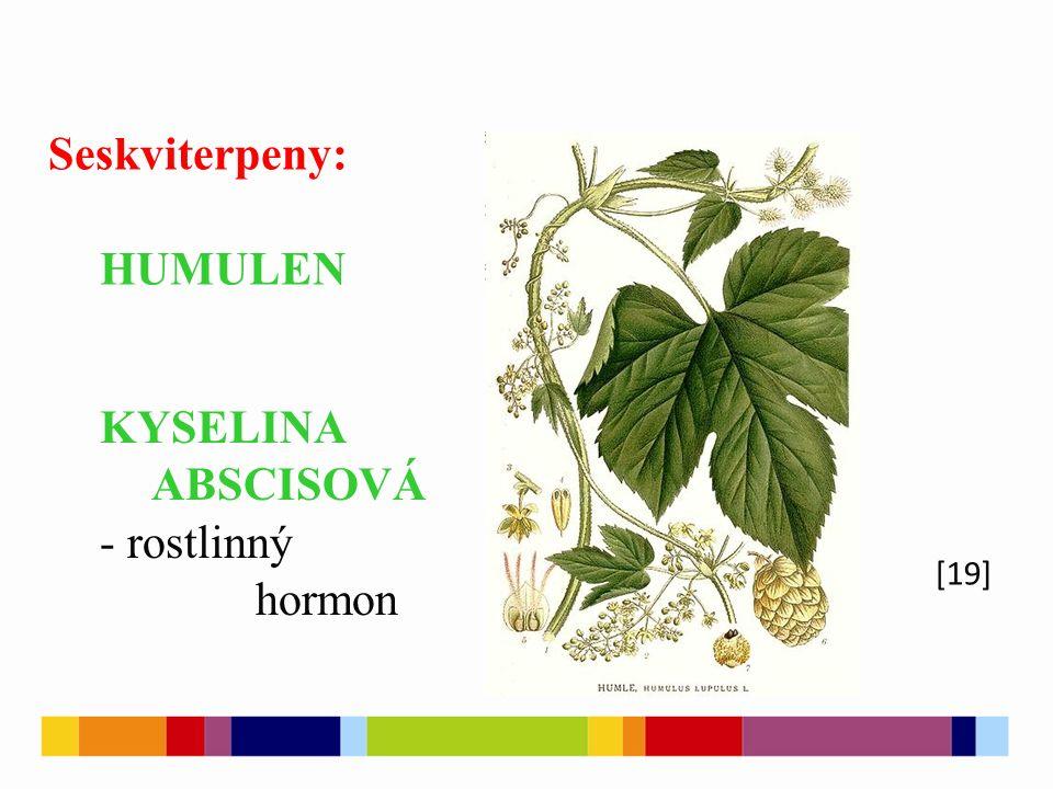 [19] Seskviterpeny: HUMULEN KYSELINA ABSCISOVÁ - rostlinný hormon