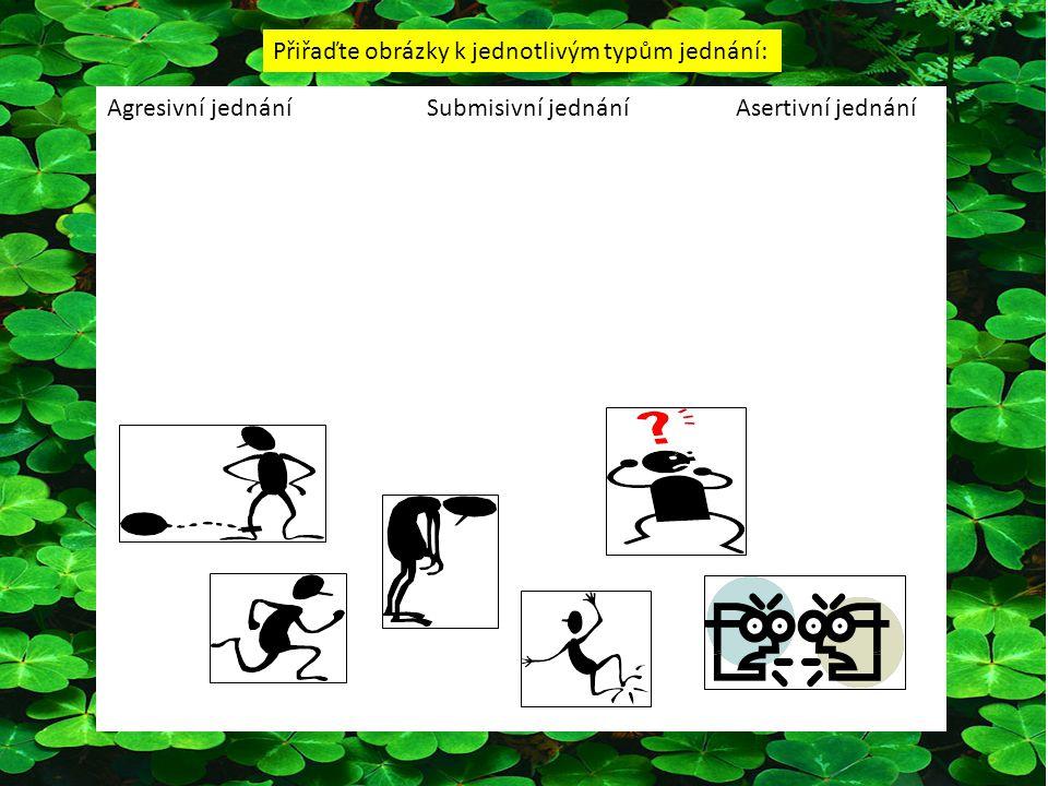 Agresivní jednání Submisivní jednáníAsertivní jednání Přiřaďte obrázky k jednotlivým typům jednání: