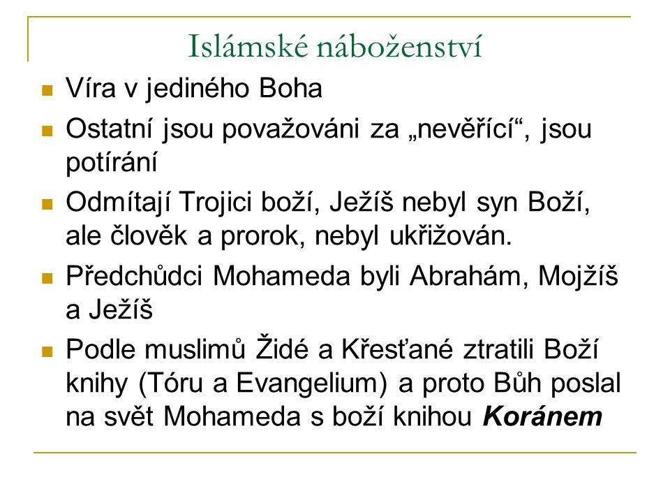 """Islámské náboženství Víra v jediného Boha Ostatní jsou považováni za """"nevěřící , jsou potírání Odmítají Trojici boží, Ježíš nebyl syn Boží, ale člověk a prorok, nebyl ukřižován."""