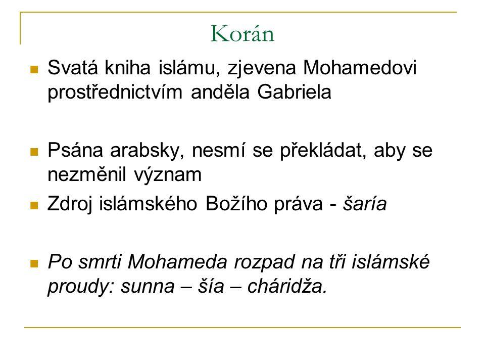 Korán Svatá kniha islámu, zjevena Mohamedovi prostřednictvím anděla Gabriela Psána arabsky, nesmí se překládat, aby se nezměnil význam Zdroj islámského Božího práva - šaría Po smrti Mohameda rozpad na tři islámské proudy: sunna – šía – cháridža.
