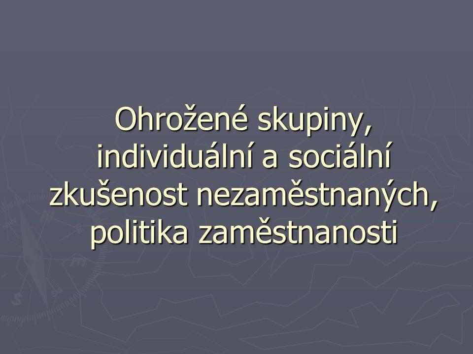 Ohrožené skupiny, individuální a sociální zkušenost nezaměstnaných, politika zaměstnanosti