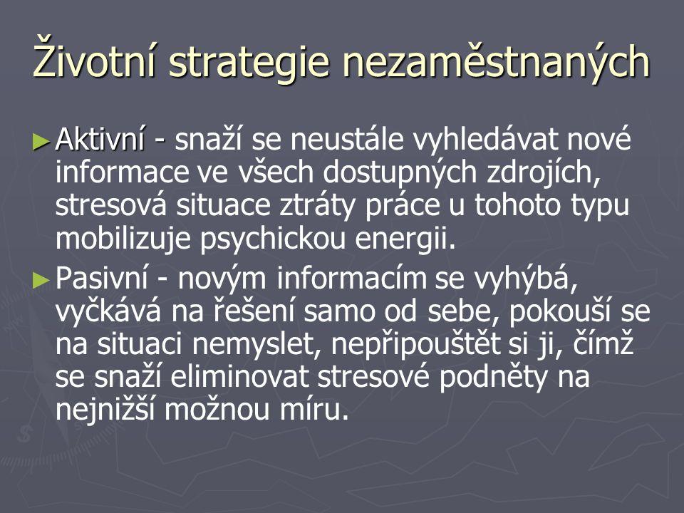 Životní strategie nezaměstnaných ► Aktivní - ► Aktivní - snaží se neustále vyhledávat nové informace ve všech dostupných zdrojích, stresová situace ztráty práce u tohoto typu mobilizuje psychickou energii.