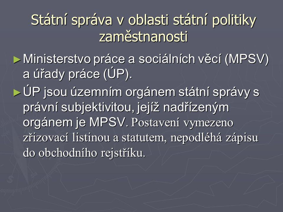 Státní správa v oblasti státní politiky zaměstnanosti ► Ministerstvo práce a sociálních věcí (MPSV) a úřady práce (ÚP). ► ÚP jsou územním orgánem stát