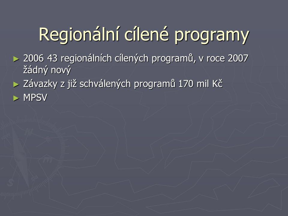 Regionální cílené programy ► 2006 43 regionálních cílených programů, v roce 2007 žádný nový ► Závazky z již schválených programů 170 mil Kč ► MPSV