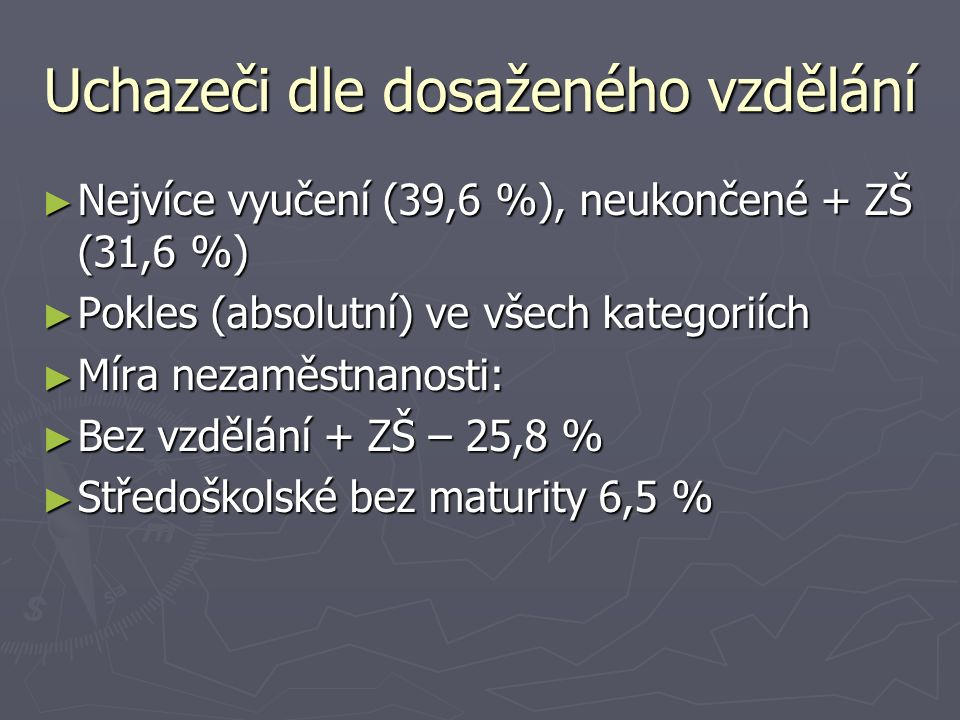 Uchazeči dle dosaženého vzdělání ► Nejvíce vyučení (39,6 %), neukončené + ZŠ (31,6 %) ► Pokles (absolutní) ve všech kategoriích ► Míra nezaměstnanosti: ► Bez vzdělání + ZŠ – 25,8 % ► Středoškolské bez maturity 6,5 %