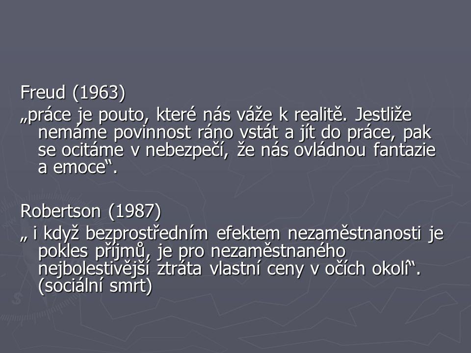 """Freud (1963) """"práce je pouto, které nás váže k realitě."""
