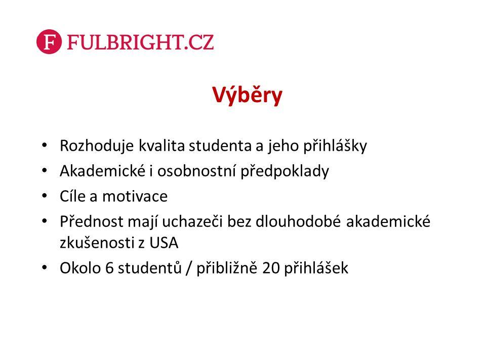 Fulbright-Masarykovo stipendium Pro uchazeče z univerzitních či vědeckovýzkumných pracovišť (včetně aplikovaného výzkumu) ve třech kategoriích: - juniorská: před dosažením Ph.D.