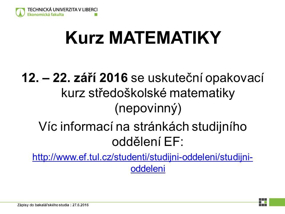 Kurz MATEMATIKY 12. – 22.