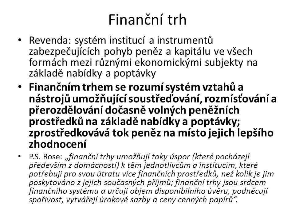 Finanční trh Revenda: systém institucí a instrumentů zabezpečujících pohyb peněz a kapitálu ve všech formách mezi různými ekonomickými subjekty na zák