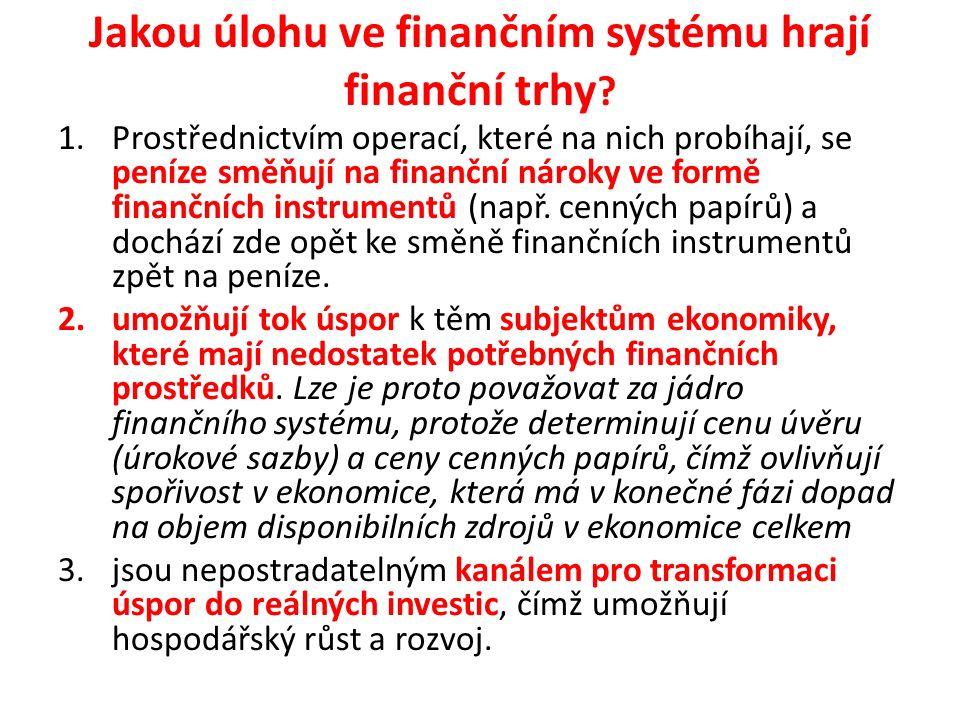 Jakou úlohu ve finančním systému hrají finanční trhy ? 1.Prostřednictvím operací, které na nich probíhají, se peníze směňují na finanční nároky ve for