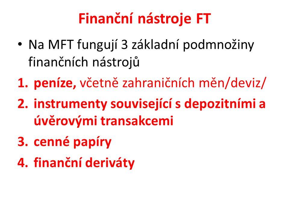 Finanční nástroje FT Na MFT fungují 3 základní podmnožiny finančních nástrojů 1.peníze, včetně zahraničních měn/deviz/ 2.instrumenty související s dep