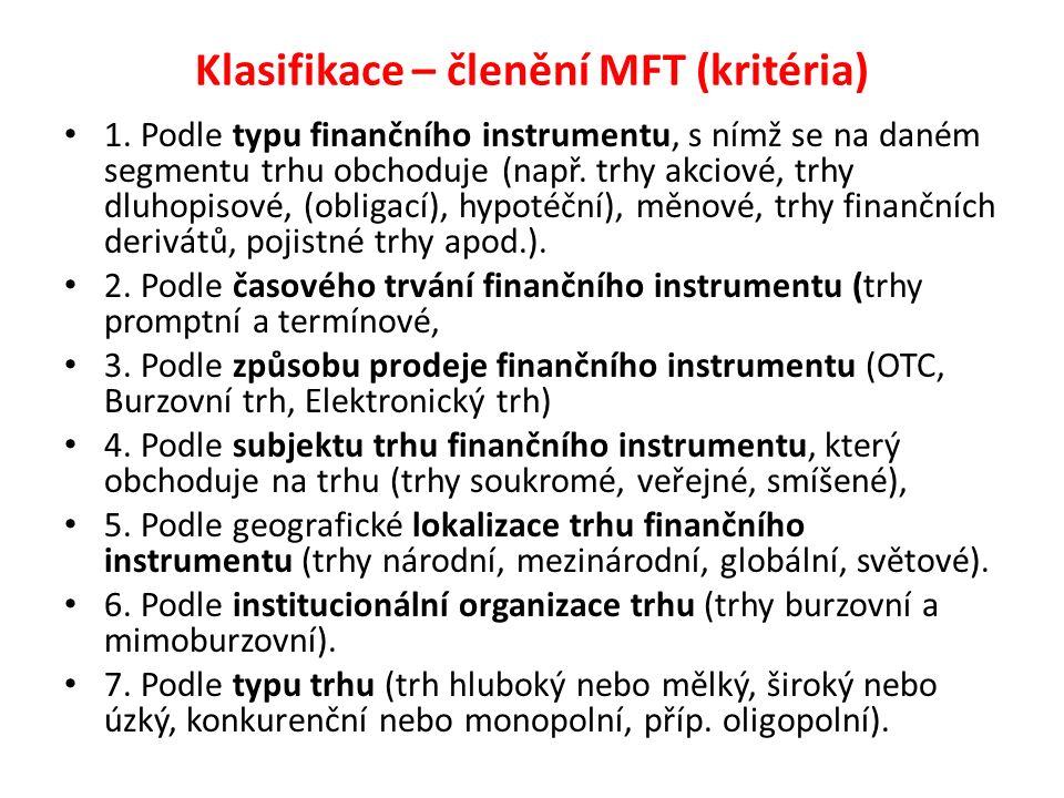 Klasifikace – členění MFT (kritéria) 1. Podle typu finančního instrumentu, s nímž se na daném segmentu trhu obchoduje (např. trhy akciové, trhy dluhop