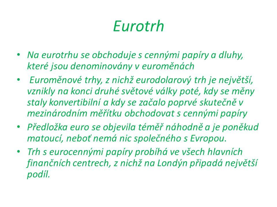 Eurotrh Na eurotrhu se obchoduje s cennými papíry a dluhy, které jsou denominovány v euroměnách Euroměnové trhy, z nichž eurodolarový trh je největší,