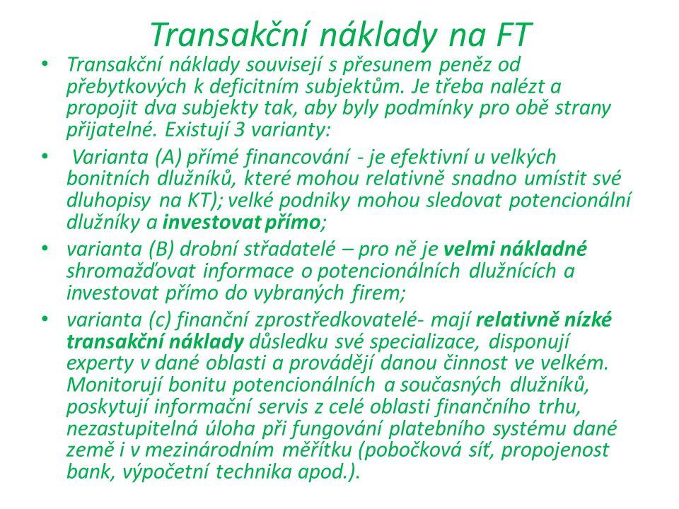 Transakční náklady na FT Transakční náklady souvisejí s přesunem peněz od přebytkových k deficitním subjektům. Je třeba nalézt a propojit dva subjekty