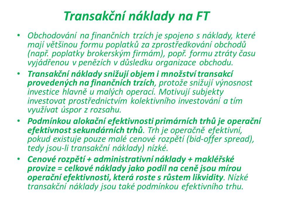 Transakční náklady na FT Obchodování na finančních trzích je spojeno s náklady, které mají většinou formu poplatků za zprostředkování obchodů (např. p