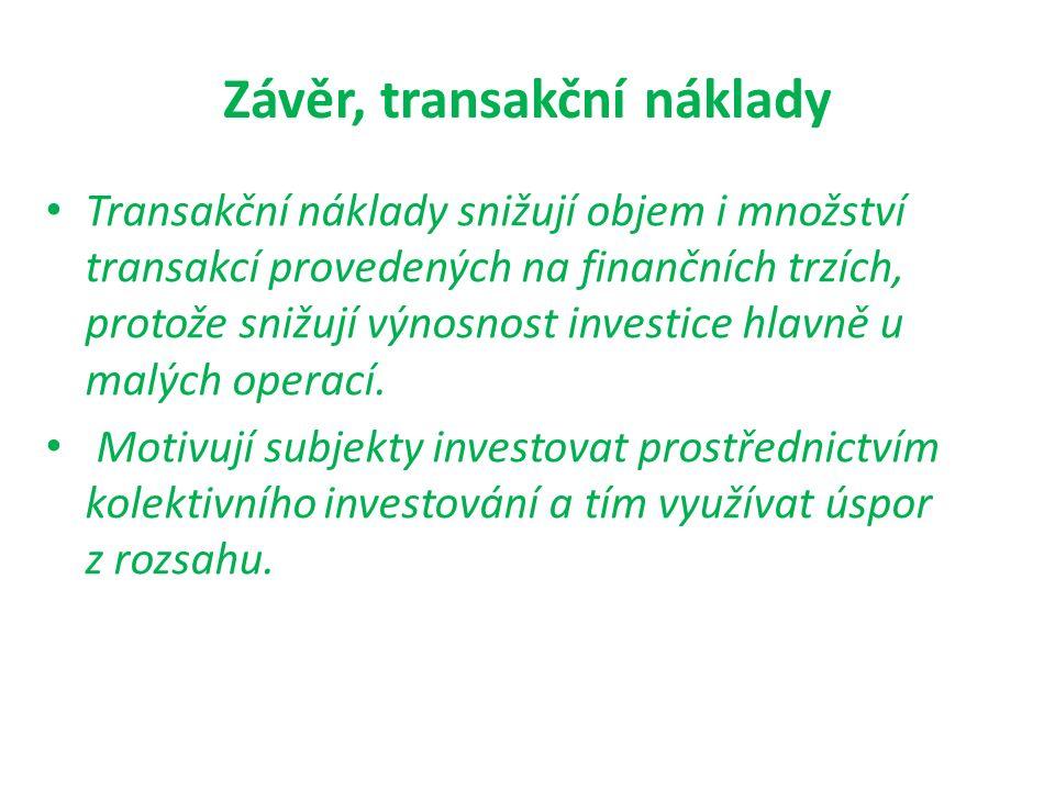 Závěr, transakční náklady Transakční náklady snižují objem i množství transakcí provedených na finančních trzích, protože snižují výnosnost investice