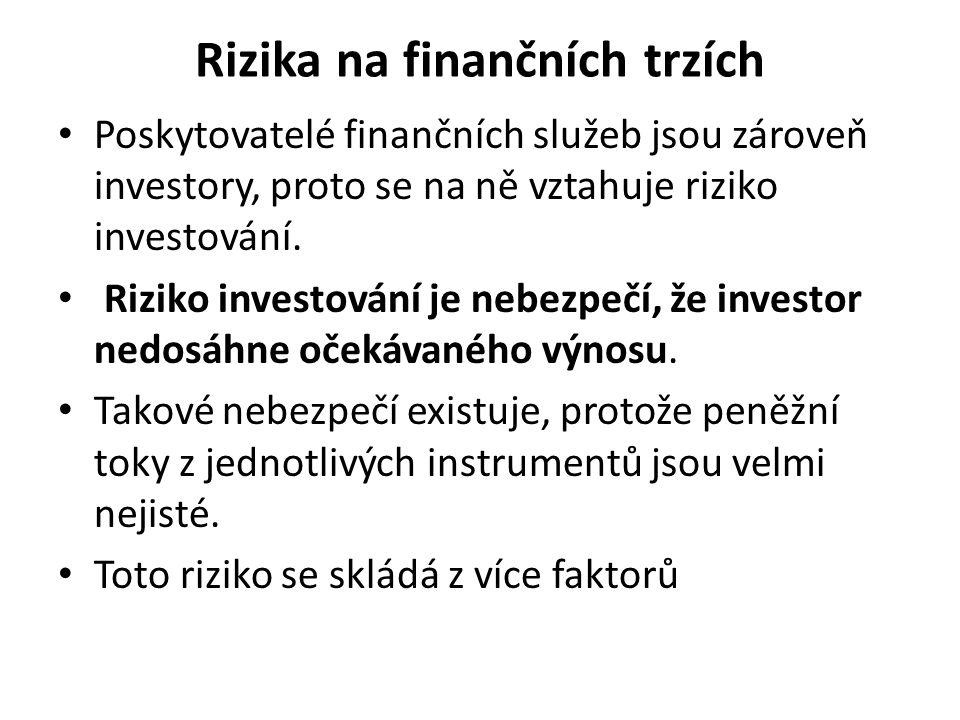 Rizika na finančních trzích Poskytovatelé finančních služeb jsou zároveň investory, proto se na ně vztahuje riziko investování. Riziko investování je