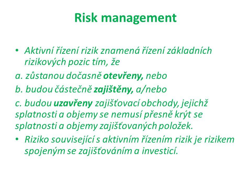 Risk management Aktivní řízení rizik znamená řízení základních rizikových pozic tím, že a. zůstanou dočasně otevřeny, nebo b. budou částečně zajištěny