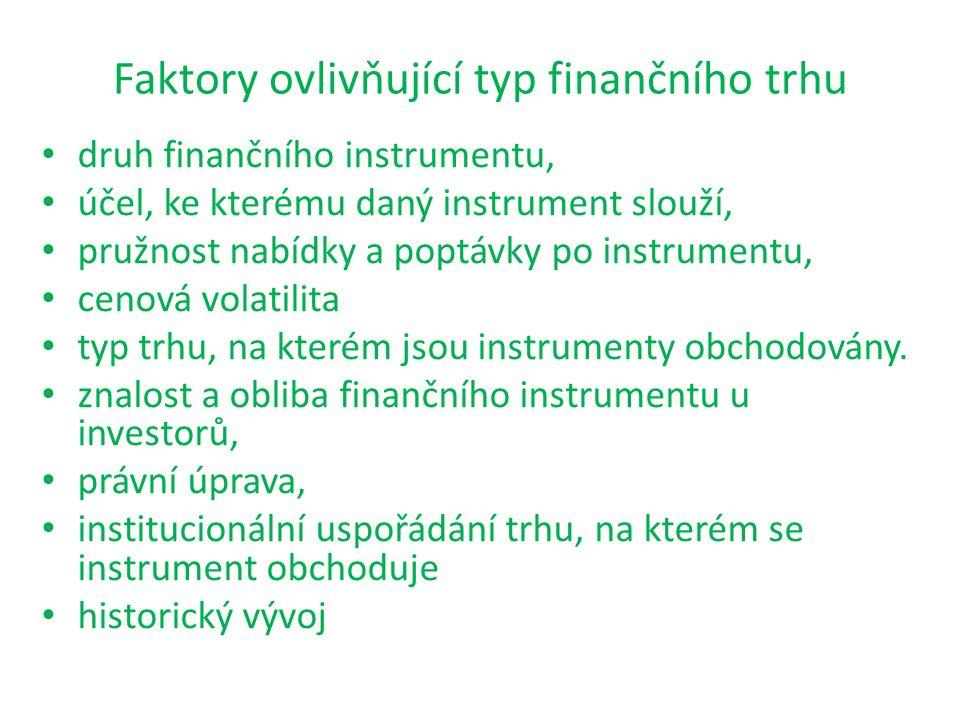 Faktory ovlivňující typ finančního trhu druh finančního instrumentu, účel, ke kterému daný instrument slouží, pružnost nabídky a poptávky po instrumen