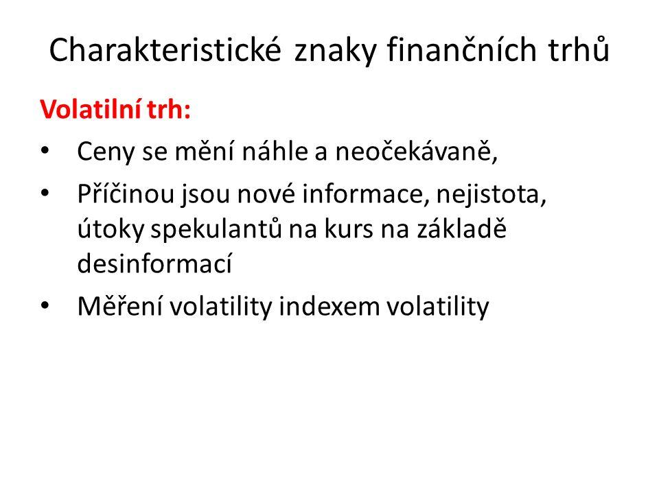 Charakteristické znaky finančních trhů Volatilní trh: Ceny se mění náhle a neočekávaně, Příčinou jsou nové informace, nejistota, útoky spekulantů na k