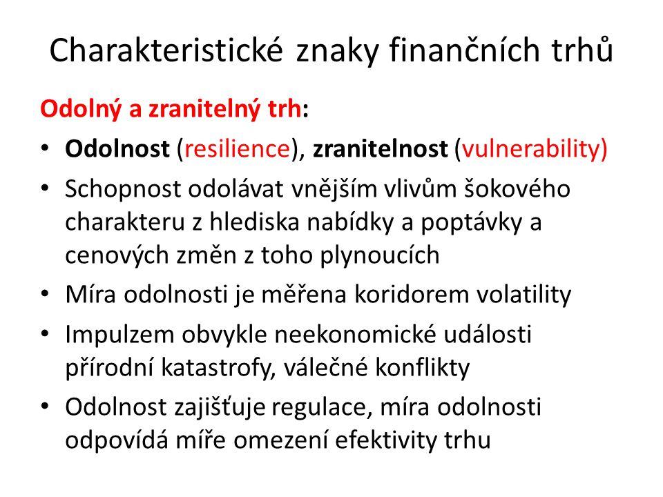 Charakteristické znaky finančních trhů Odolný a zranitelný trh: Odolnost (resilience), zranitelnost (vulnerability) Schopnost odolávat vnějším vlivům