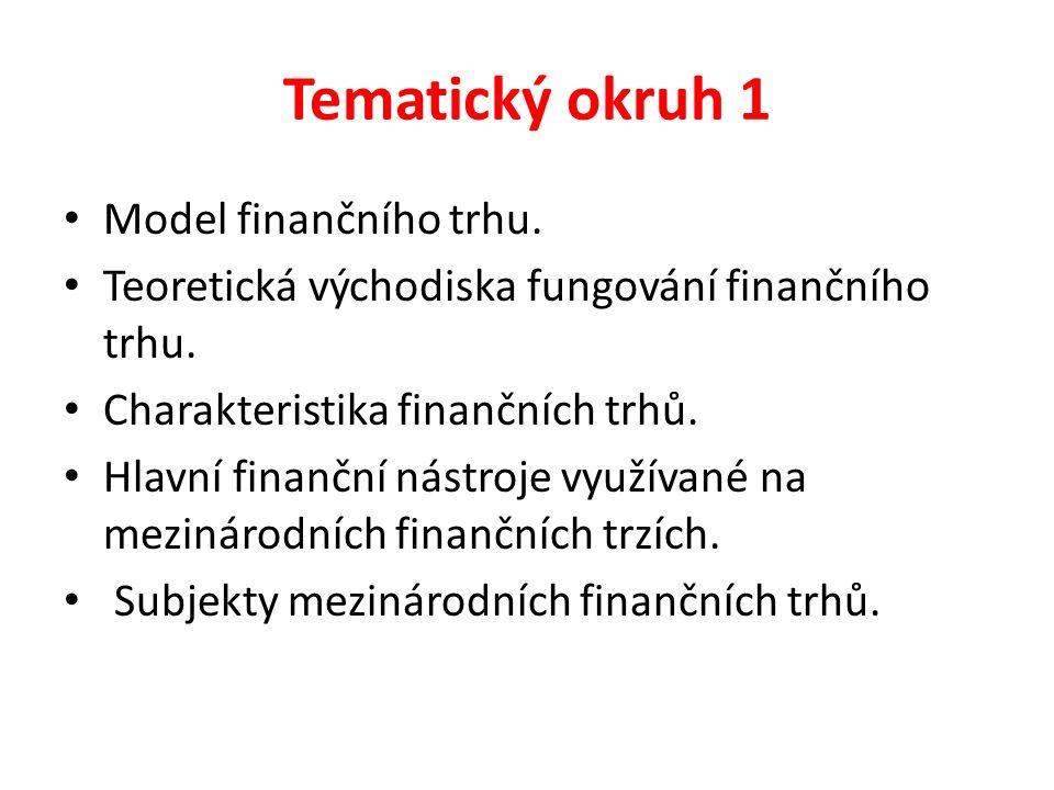 Tematický okruh 1 Model finančního trhu. Teoretická východiska fungování finančního trhu. Charakteristika finančních trhů. Hlavní finanční nástroje vy