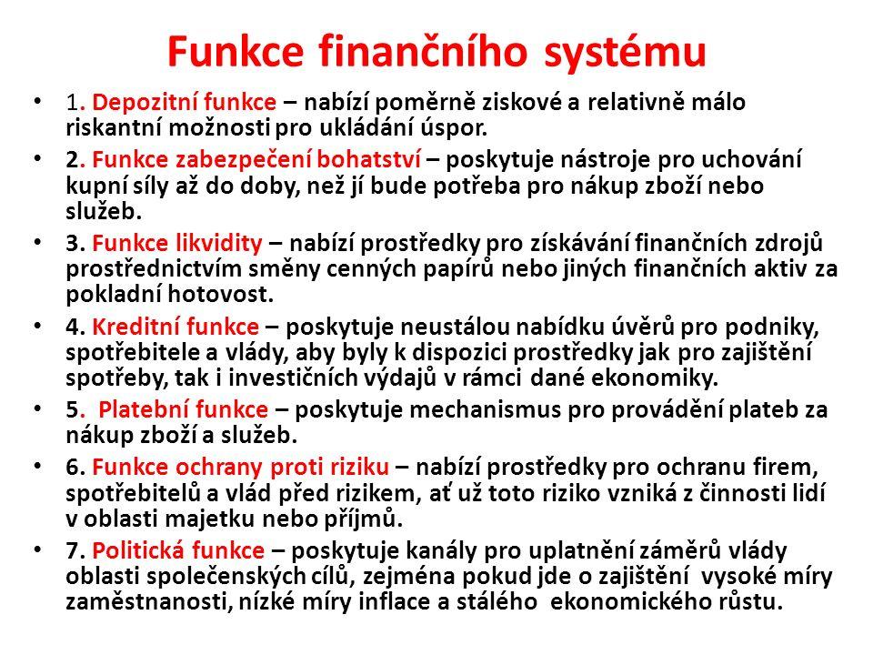 Funkce finančního systému 1. Depozitní funkce – nabízí poměrně ziskové a relativně málo riskantní možnosti pro ukládání úspor. 2. Funkce zabezpečení b