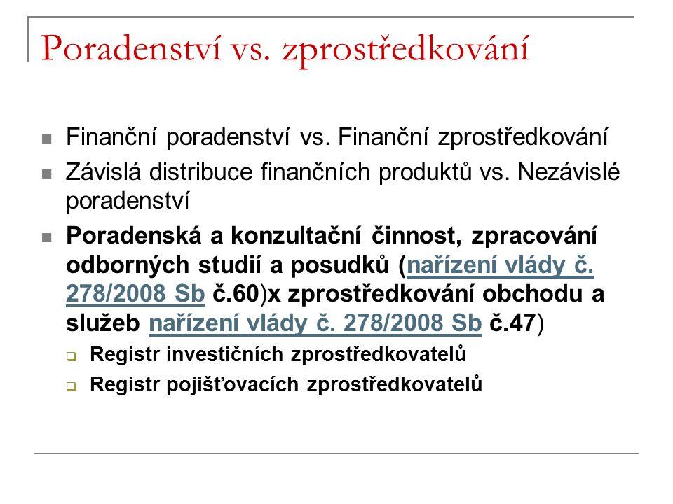 Poradenství vs. zprostředkování Finanční poradenství vs. Finanční zprostředkování Závislá distribuce finančních produktů vs. Nezávislé poradenství Por