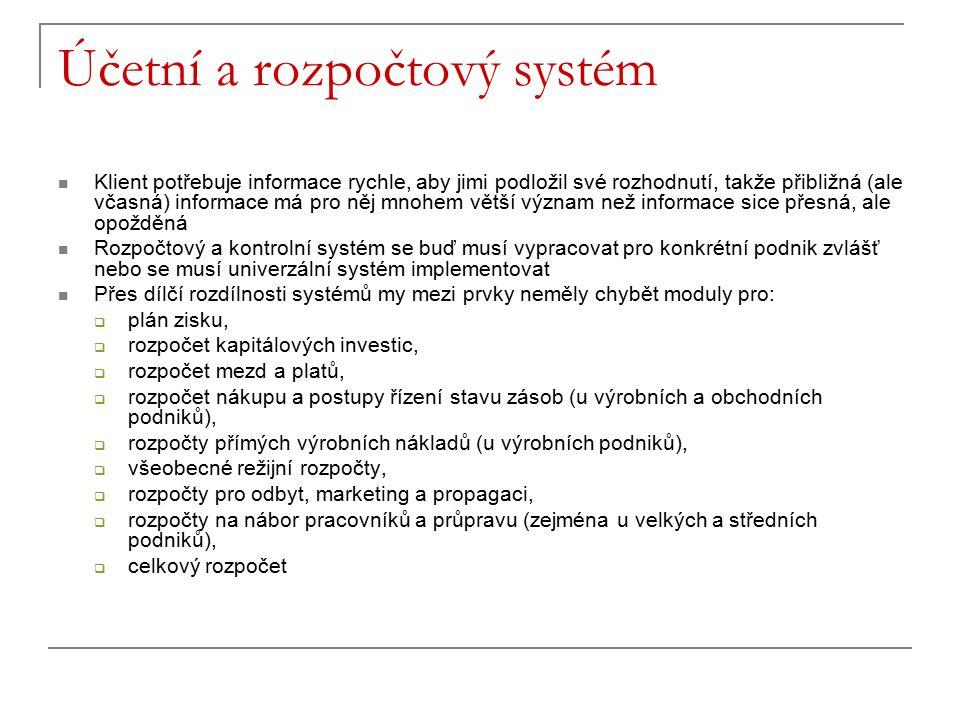 Účetní a rozpočtový systém Klient potřebuje informace rychle, aby jimi podložil své rozhodnutí, takže přibližná (ale včasná) informace má pro něj mnohem větší význam než informace sice přesná, ale opožděná Rozpočtový a kontrolní systém se buď musí vypracovat pro konkrétní podnik zvlášť nebo se musí univerzální systém implementovat Přes dílčí rozdílnosti systémů my mezi prvky neměly chybět moduly pro:  plán zisku,  rozpočet kapitálových investic,  rozpočet mezd a platů,  rozpočet nákupu a postupy řízení stavu zásob (u výrobních a obchodních podniků),  rozpočty přímých výrobních nákladů (u výrobních podniků),  všeobecné režijní rozpočty,  rozpočty pro odbyt, marketing a propagaci,  rozpočty na nábor pracovníků a průpravu (zejména u velkých a středních podniků),  celkový rozpočet