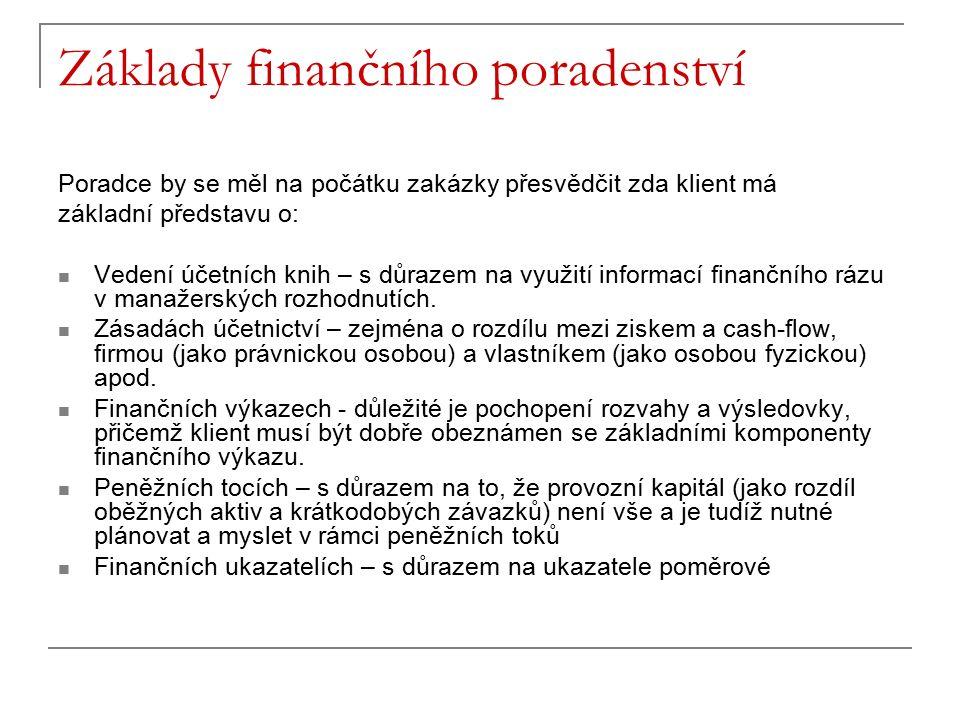Základy finančního poradenství Poradce by se měl na počátku zakázky přesvědčit zda klient má základní představu o: Vedení účetních knih – s důrazem na