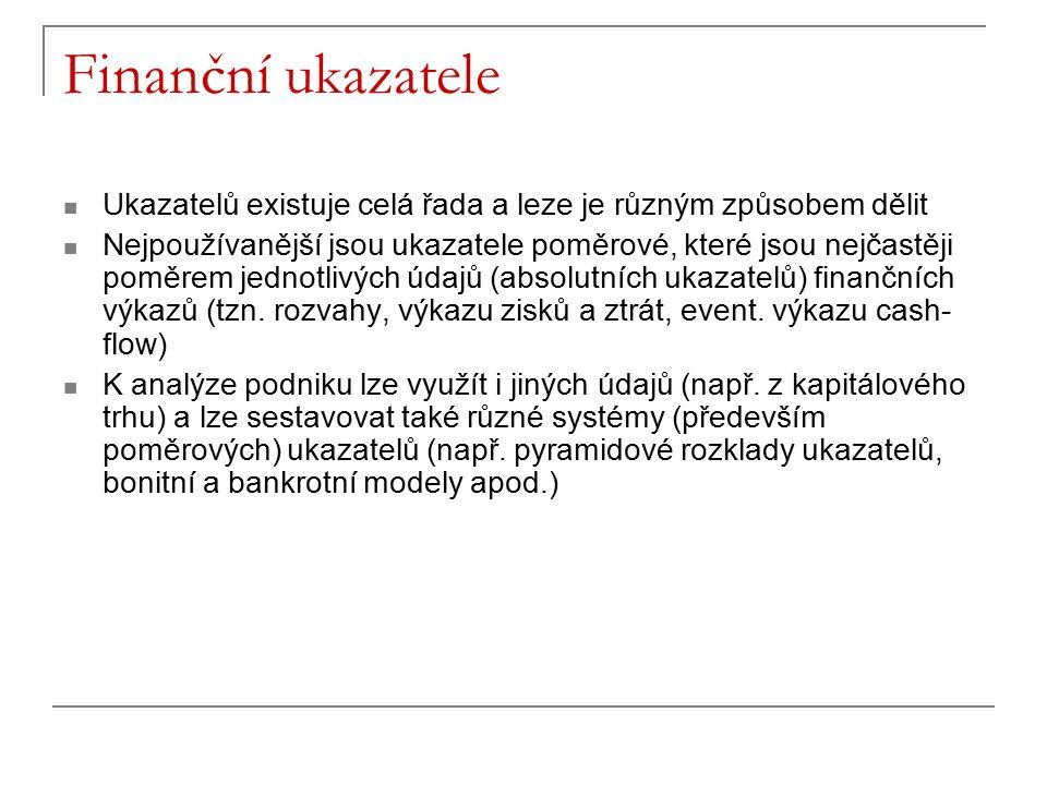 Finanční ukazatele Ukazatelů existuje celá řada a leze je různým způsobem dělit Nejpoužívanější jsou ukazatele poměrové, které jsou nejčastěji poměrem jednotlivých údajů (absolutních ukazatelů) finančních výkazů (tzn.