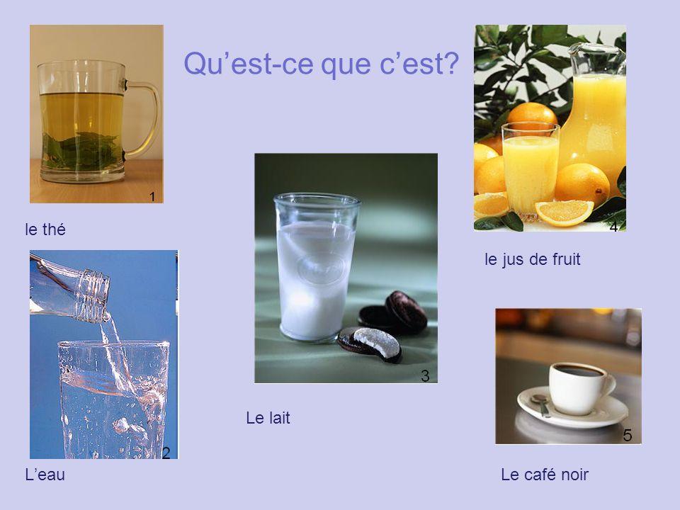 Qu'est-ce que c'est? le thé le jus de fruit Le lait L'eauLe café noir