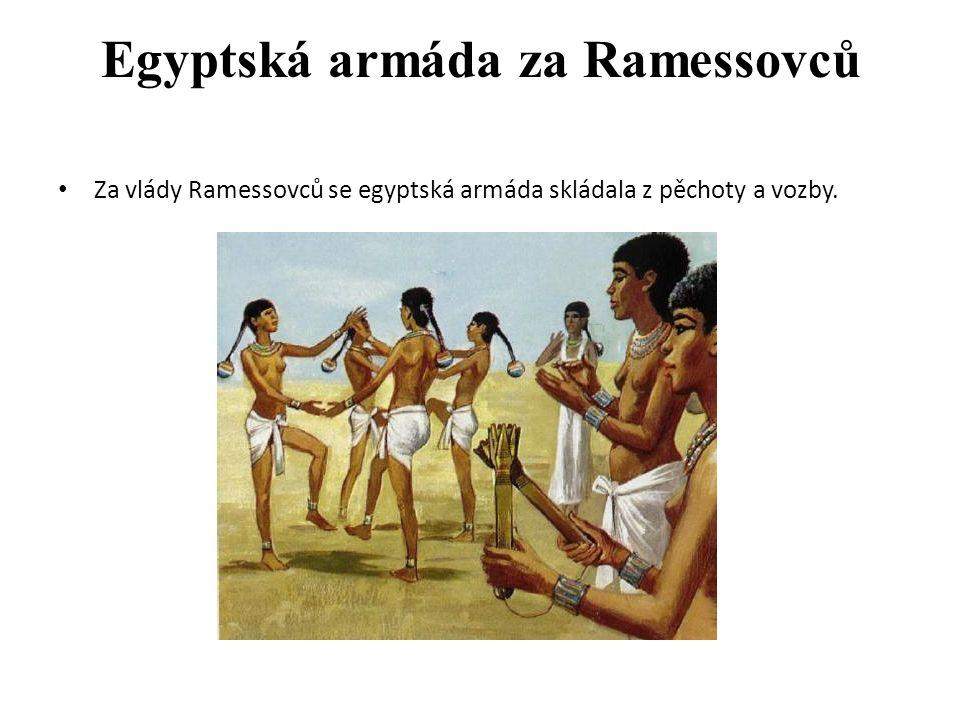 Egyptská armáda za Ramessovců Za vlády Ramessovců se egyptská armáda skládala z pěchoty a vozby.